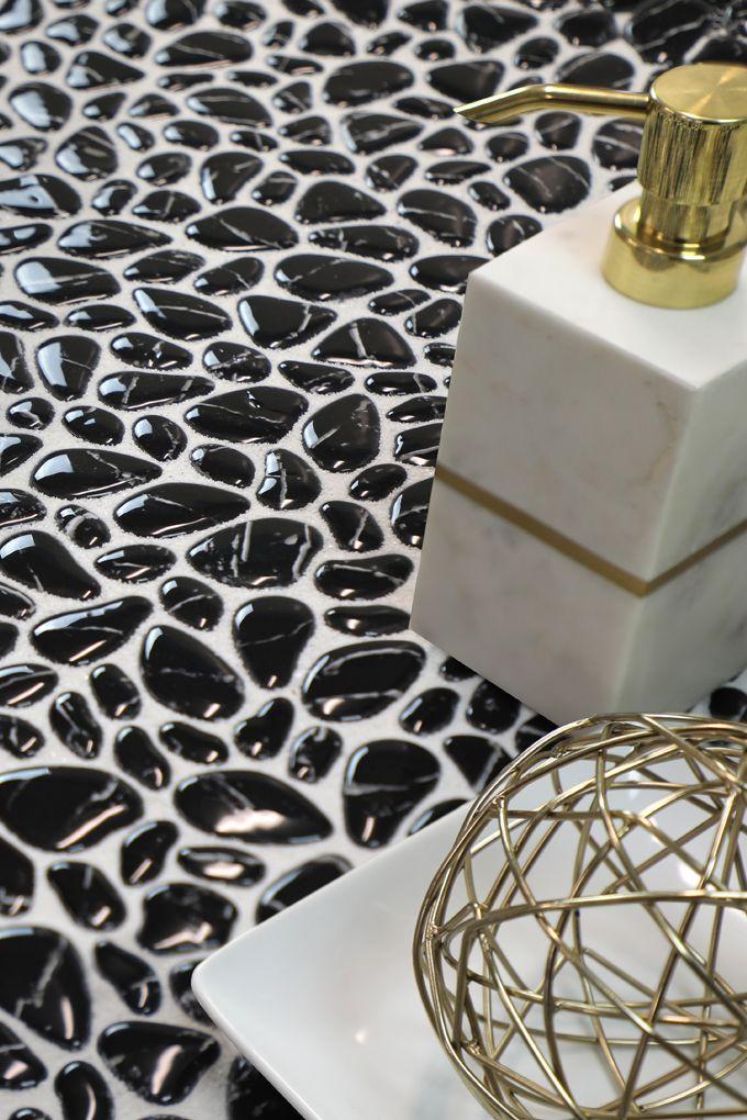 Micro Crystal Pebbles 11 5x11 5 Mosaic Sheet In Nero Polished Stone Tiles Pebble Stone Pebbles