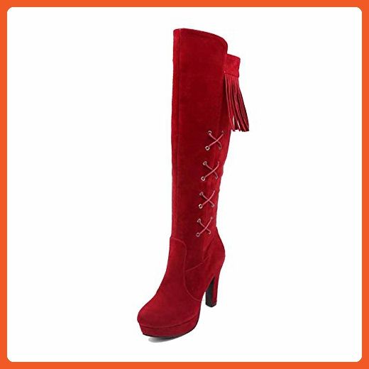 WeiPoot Women's Imitated Suede High Top Fringed Zipper High Heels Boots, Red, 43 - Boots for women (*Amazon Partner-Link)