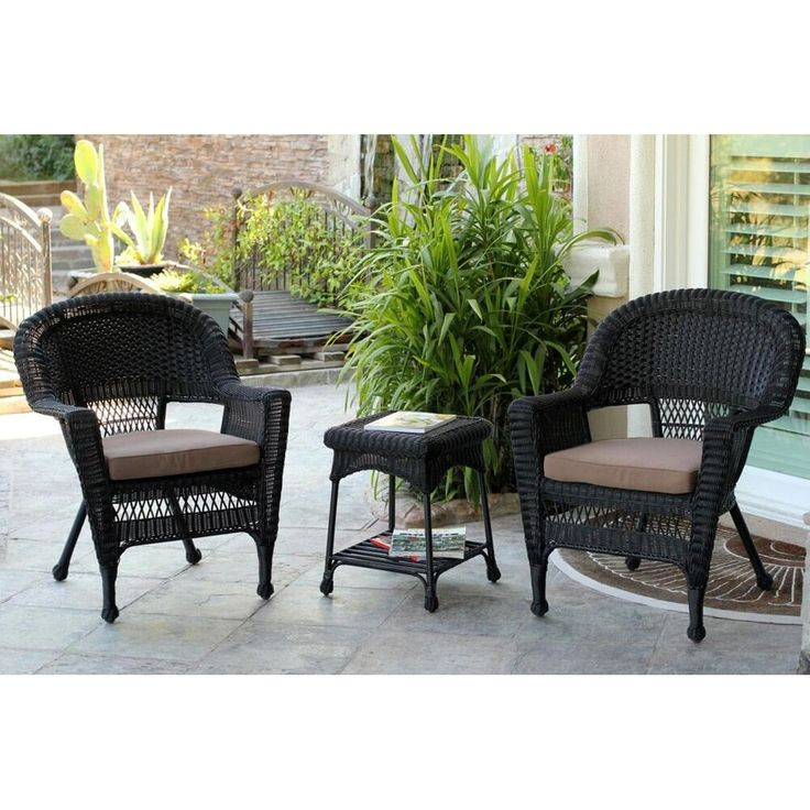 3-Piece Black Resin Wicker Patio Chairs and End Table Furniture Set - Brown Cushions, Patio Furniture