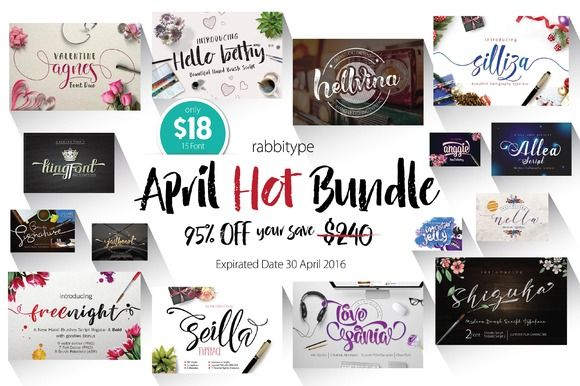 APRIL HOT BUNDLE - 95% OFF by Rabbittype on @creativemarket