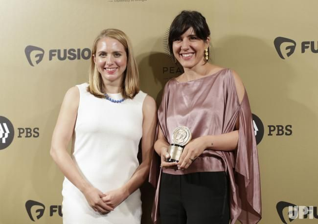 Lindsay Crouse and Daphne Matziarak arrive in the press room with an award at the 76th Annual Peabody Awards Ceremony at Cipriani, Wall…