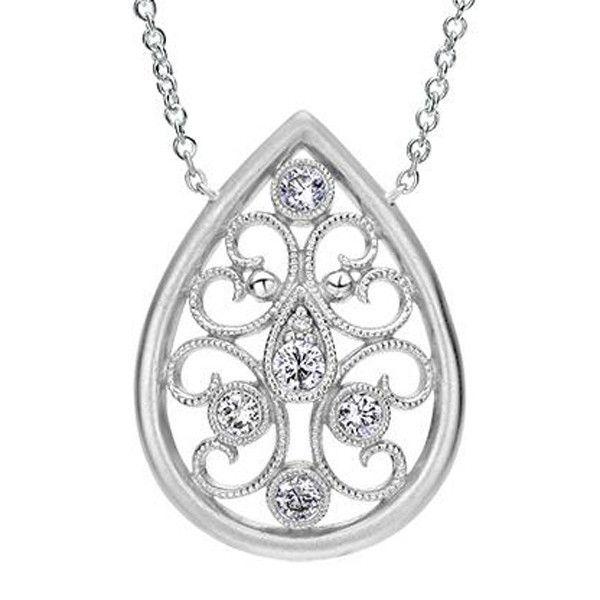 "Gabriel Sterling Silver Vintage Style Filigree Diamond Tear Drop Pendant on an 18"" Chain Featuring Scroll Work Detailing. Style NK4075SV5JJ"