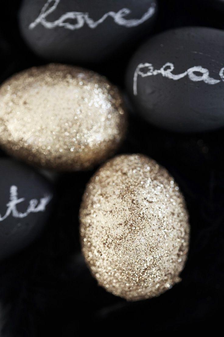 Gold Glitter Easter Eggs + Chalkboard Paint Easter Eggs