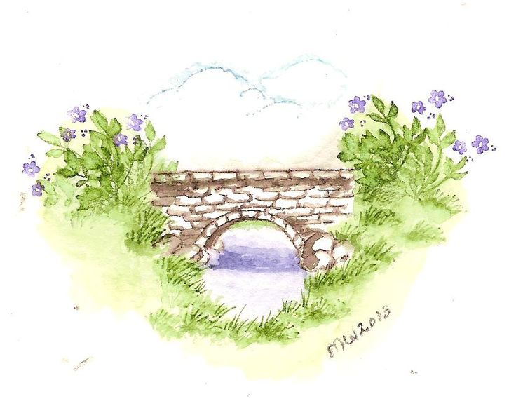 English Bridge From Art Impressions Water Color Project 8 Series Countryside Using The Smaller Version Of Stamps Sets With