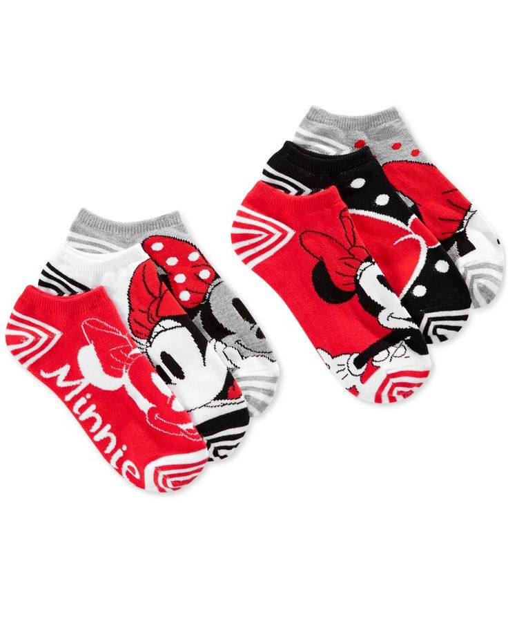 Disney fans will adore this six-pack of women's ankle socks featuring assorted Minnie Mouse designs by Planet Sox. | Polyester/spandex | Machine washable | Imported | Contains 6 pairs | One size fits