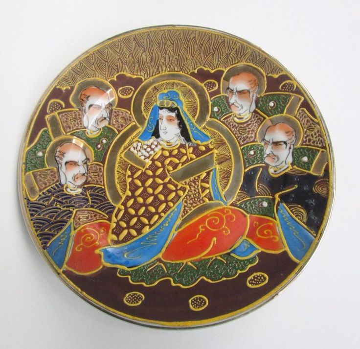 Vtg Made In Japan Satsuma Moriage Dragonware Decorative Asian Plate Immortals Antique