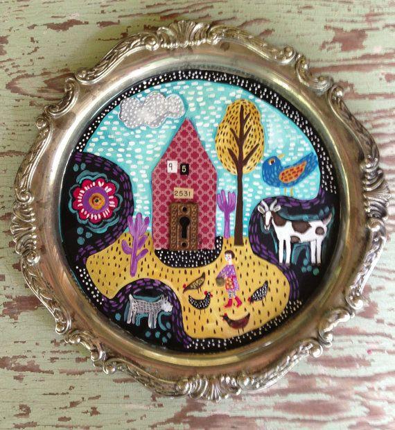 Mixed Media Folk Art Farmhouse Decor by evesjulia12 on Etsy