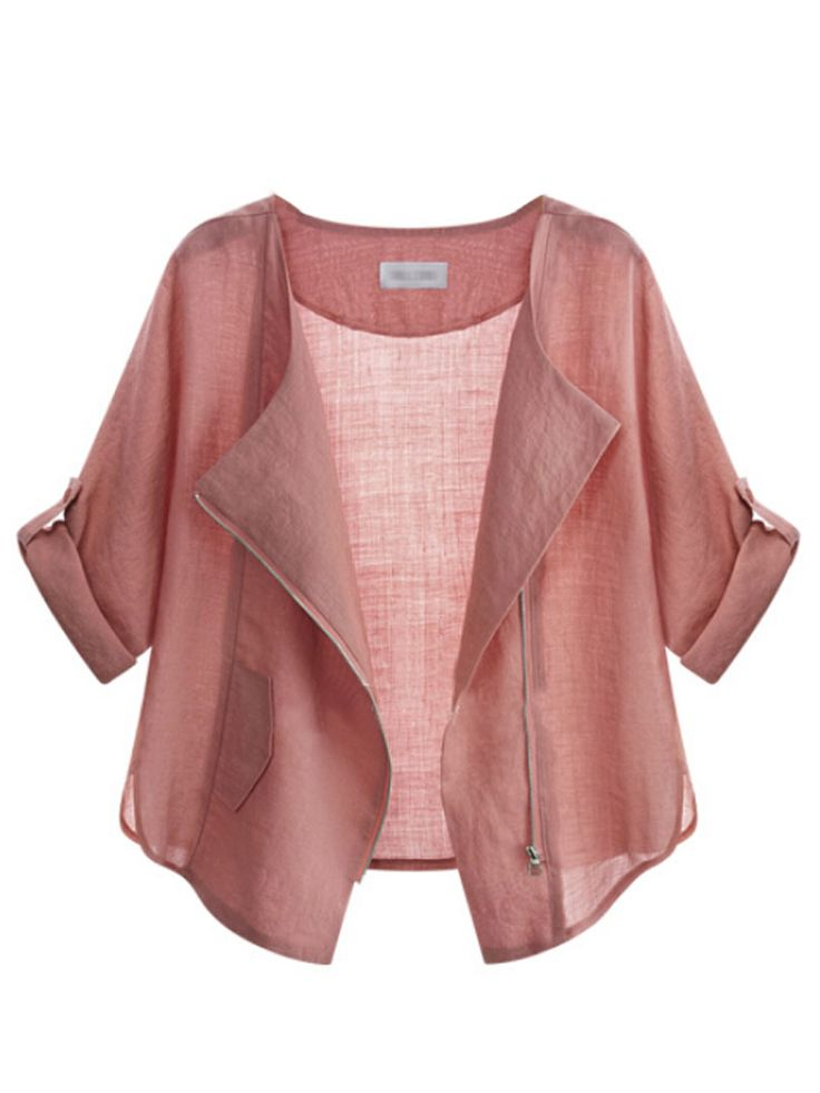 Light Pink Roll Up Sleeve Asymmetric Poncho Cover Up Coat | abaday