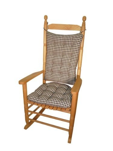 Rocking Chair Pad Set, Checkers Black Cream 1/4