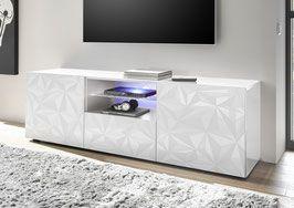 Mobile Tv Bianco Lucido.Prismo 02 Porta Tv 2 Ante 1 Cassetto Porta Tv