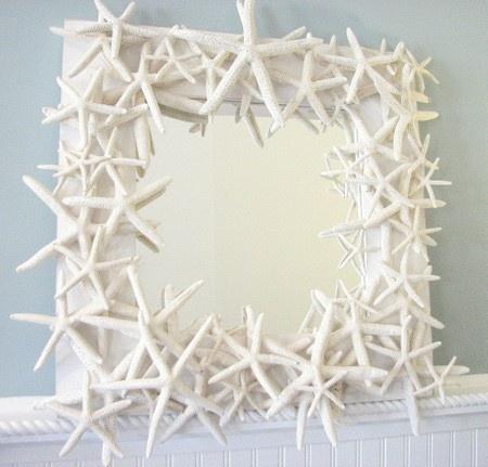Art Beach Decor Shell Mirror inspiration-themes-marine: Starfish Mirror, Shells, Crafts Ideas, Beaches House, Beachhous, Frames Mirror, Bathroom, Sea Glasses, Beaches Cottages