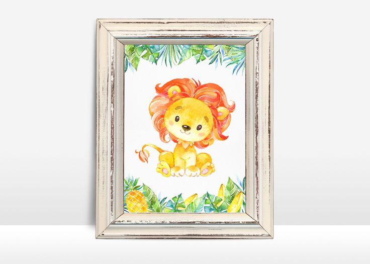 Lion Nursery Print, Animal Nursery Print, Lion Wall Art, Printable Lion Print, Jungle Nursery Decor, Safari Nursery Print, Digital File - pinned by pin4etsy.com