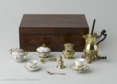 This tea, coffee and chocolate service, which originally bore the arms of Queen Marie Leczinska (1703-68), commemorates the birth of the Dauphin (father of Louis XVI, Louis XVIII and Charles X) in 1729). Most of the pieces, by Henry-Nicolas Cousinet, are in gilded silver, and they bear witness to the emergence of the rococo style.