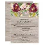 Rustic Fall Wedding Burgundy Flowers Reply Card