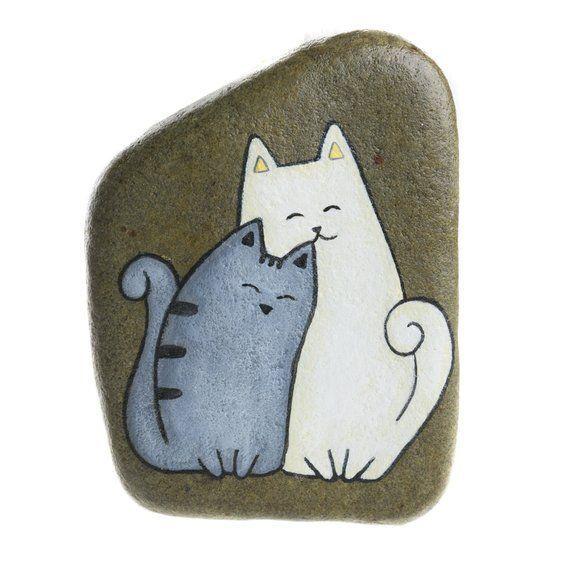 Handgemalter Felsen zum Aufhängen mit zwei Katzen