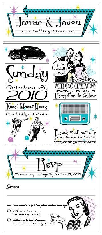 Retro - Vintage 1950's Wedding Invitation set with tear off rsvp card with labels (sample). $8.50, via Etsy.