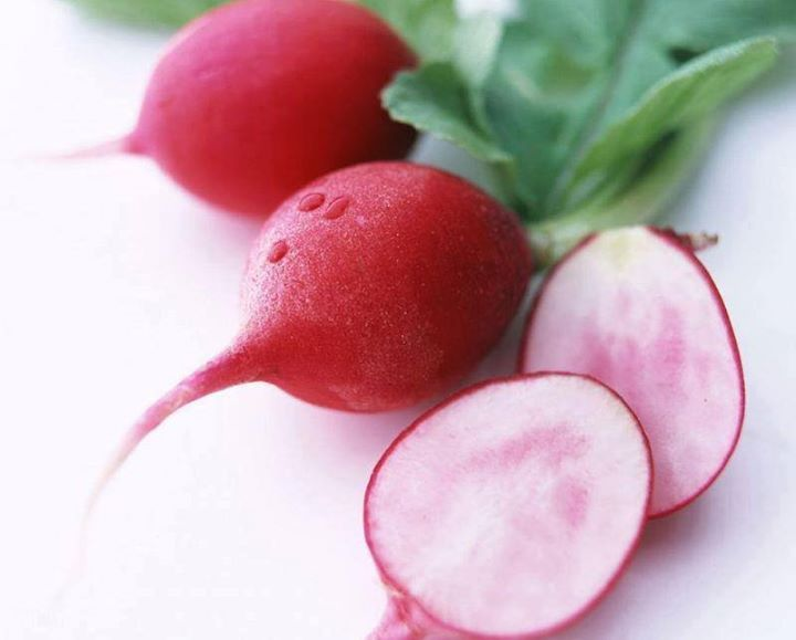 Radishes are antibacterial, anti-fungal, and diuretic. They are rich in Vitamin C, folic acid, and anthocyanin and are excellent for sinus congestion, so throats, chest colds, asthma, and hoarseness.