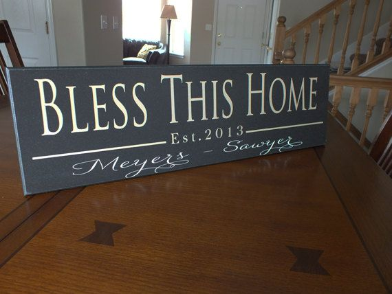 Personalized Established Sign Family Name Sign Bless Home
