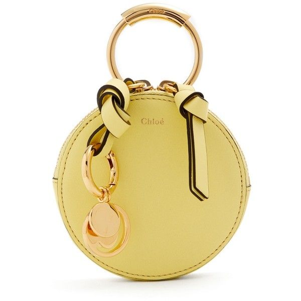 Chloé Round mini leather coin purse ($340) ❤ liked on Polyvore featuring bags, wallets, leather change purse, mini coin purse, zip coin purse, zippered coin pouch and zipper coin purse