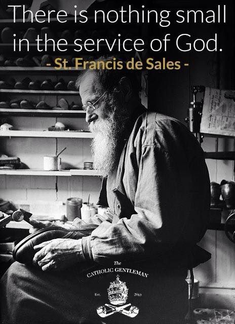 """As St. Francis de Sales said: """"Do not look forward in fear to the changes of life; Rather look to them with full hope that as they arise, God, whose very own you are, will lead you safely through all things; And when you cannot stand it, God will carry you."""""""