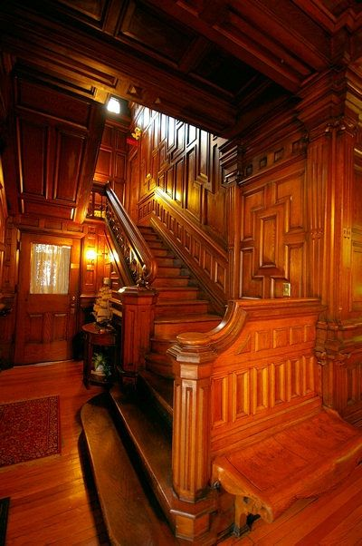 1891 Cedar Crest Victorian Inn in Asheville. The Queen Anne Victorian mansion features treasured architectural details and interior woodwork carved by Biltmore's same artisans.