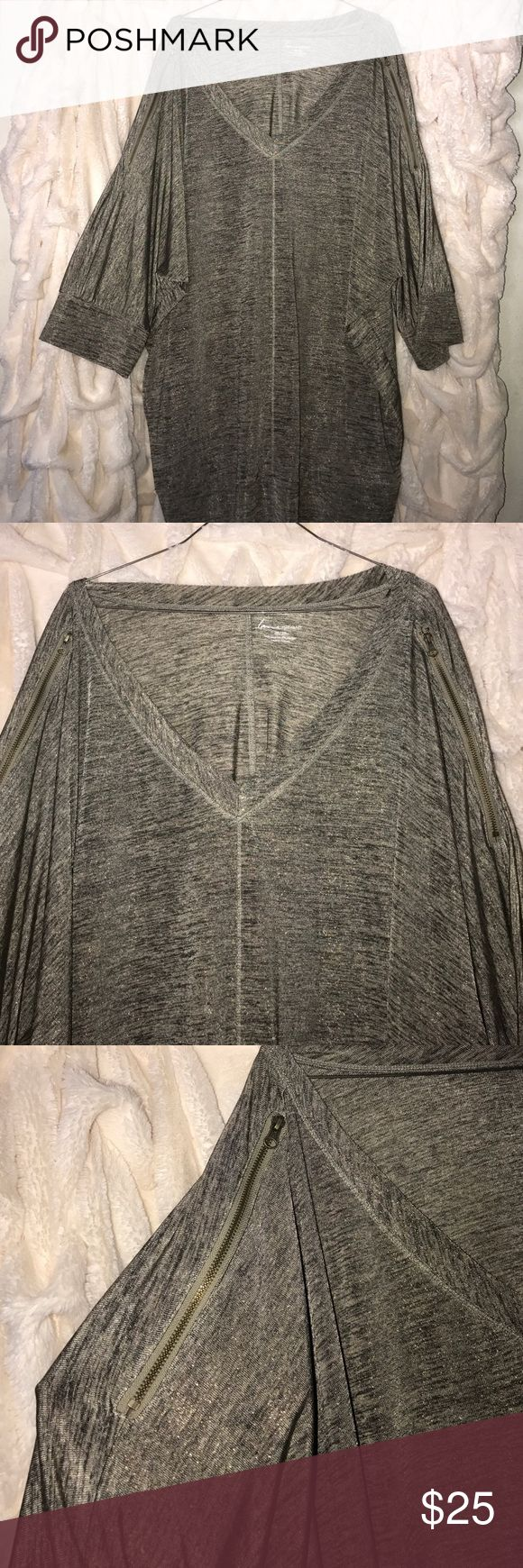 Gold metallic batwing shirt Lane Bryant gold metallic batwing shirt with zippers on arms that allow to wear open or closed. Really elegant and dressy Lane Bryant Tops Blouses