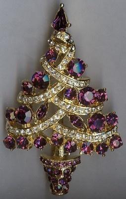 Breathtaking Christmas Tree Brooch Pin - Purple & Clear Swarovski Rhinestones   eBay