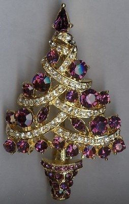 Breathtaking Christmas Tree Brooch Pin - Purple & Clear Swarovski Rhinestones | eBay