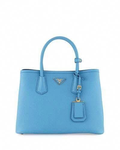 095bb538f40a Prada Saffiano Cuir Double Small Tote Bag, Light Blue/Dark Blue (Mare+ Bluette) #Pradahandbags