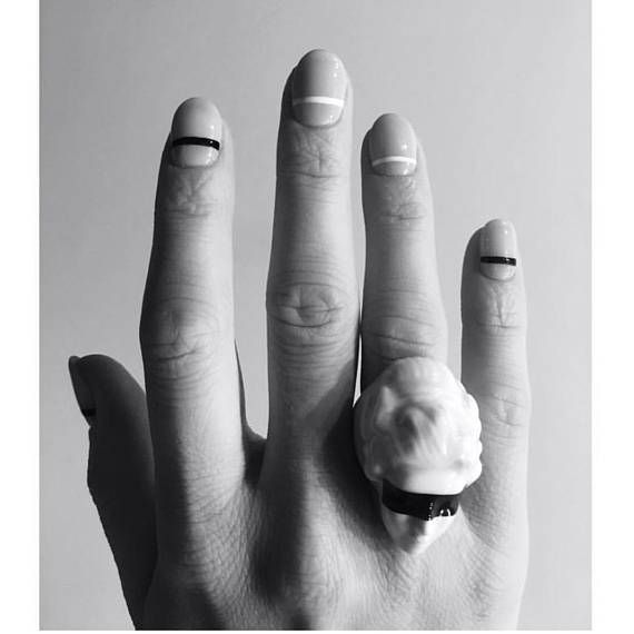 feminist porcelain jewelry white porcelain ring black