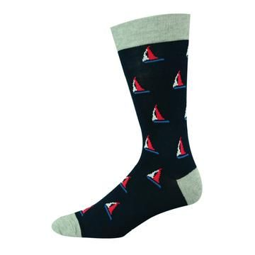 Sailing Pattern Men's Bamboo Socks - Had enough with your ordinary sock collection? We completely understand! Why not give our bamboo socks a try? Not only are they a real luxury, but our line of funky socks will make your sock drawer anything but ordinary! With our extensive assortment of patterns and colors, treat your feet to our luxurious men's bamboo socks