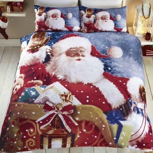 Bedding Set Santa Claus KingSize Bedroom Quilt Duvet Cover Christmas Photo Print