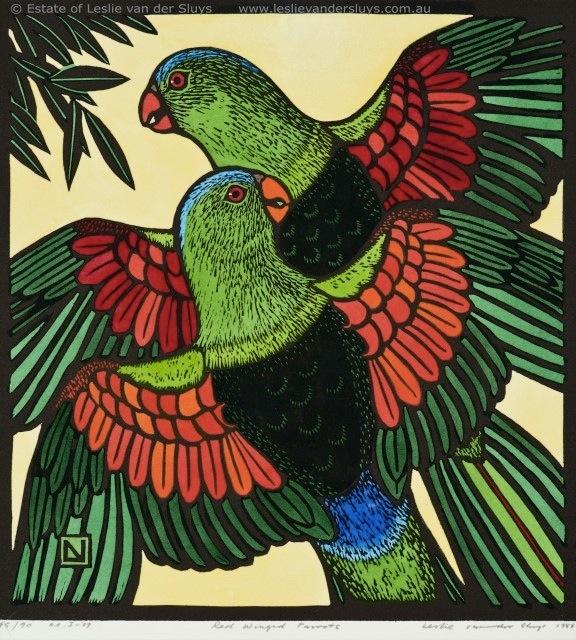 Red Winged Parrots by Leslie Vander Sluys