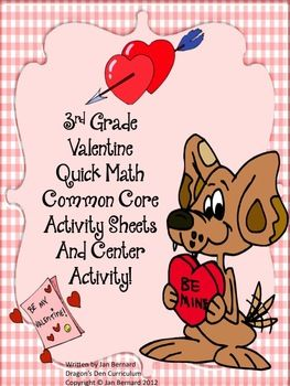 Bring a little love into your classroom with this Valentine common core math pack. Fourteen pages of quick common core activities have four questions on each page covering different common core standards in the curriculum. This makes it perfect for a quick morning check-up. $4.00