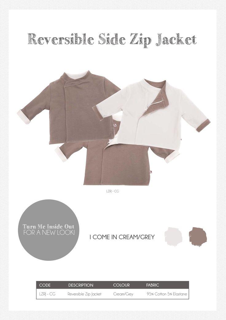Li'l Zippers: Baby Gift Idea: Reversible Side Zip Jacket Cream/Grey 95% Cotton 5% Elastane