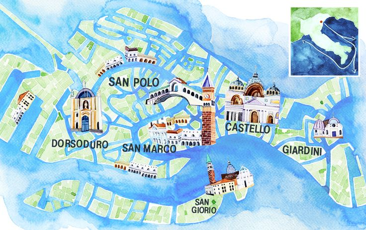 Illustrated Map of Venice - Holly Exley Illustration