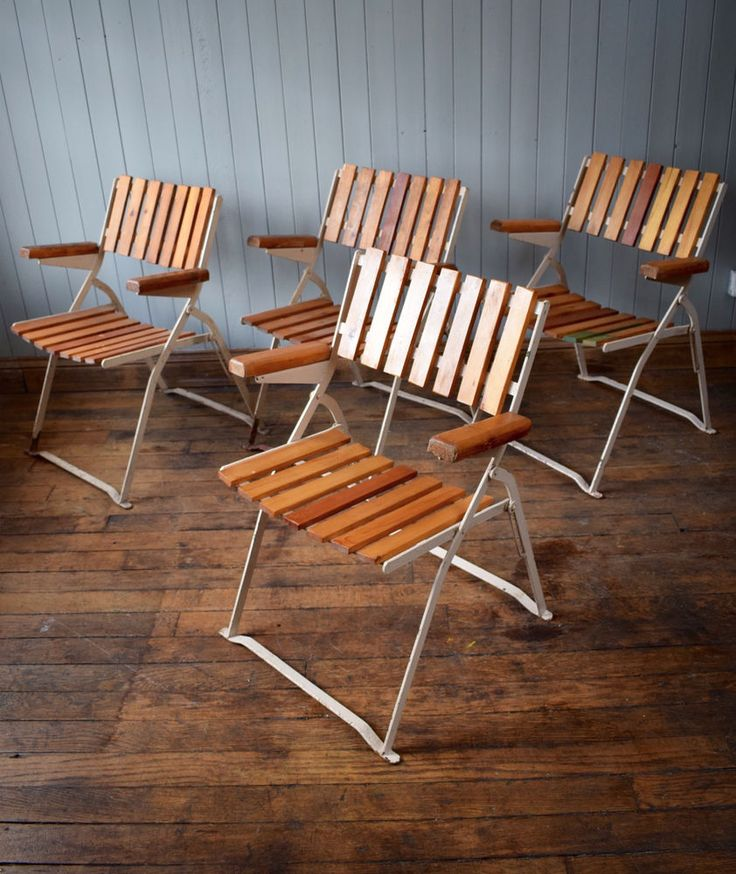 Set Of Mid Century German Folding Garden Chairs CAN DELIVER