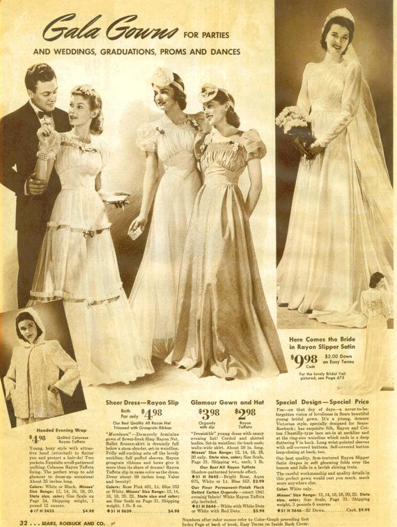 women's wardrobe 1940s | Vintage 1940s Sears Catalog Page, Wedding Gowns, Women's Clothing ...