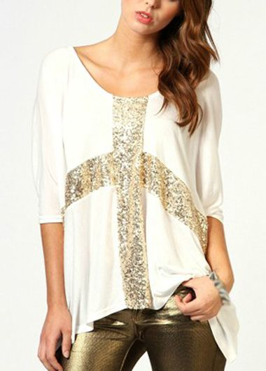 Batwing Sleeve Sequin Decorated White T Shirt