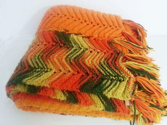 Vintage Handmade Knitted Afghan