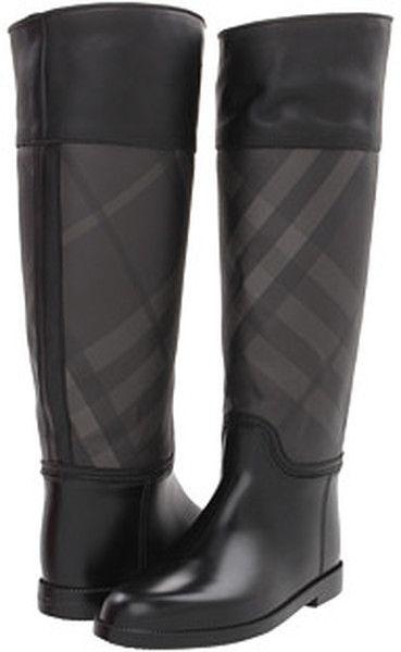 Burberry Black Check Panel Rain Boots