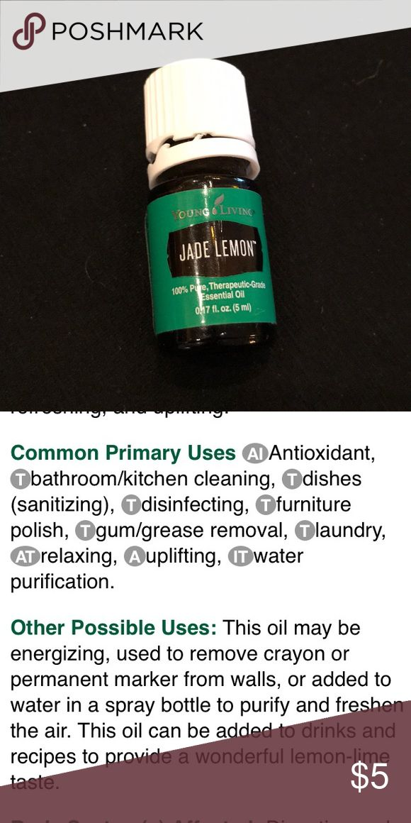 Young Living Jade Lemon Essential Oil 5ml Jade Lemon smells amazing! Full bottle, opened preowned but never used. See picture for usage suggestions.  Genuine Young Living EO! Young Living Other