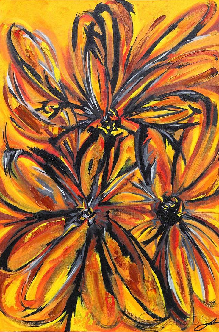 <<Flores amarillas>> Dimensiones: 85 X 65 cm. 2011.   VENDIDA