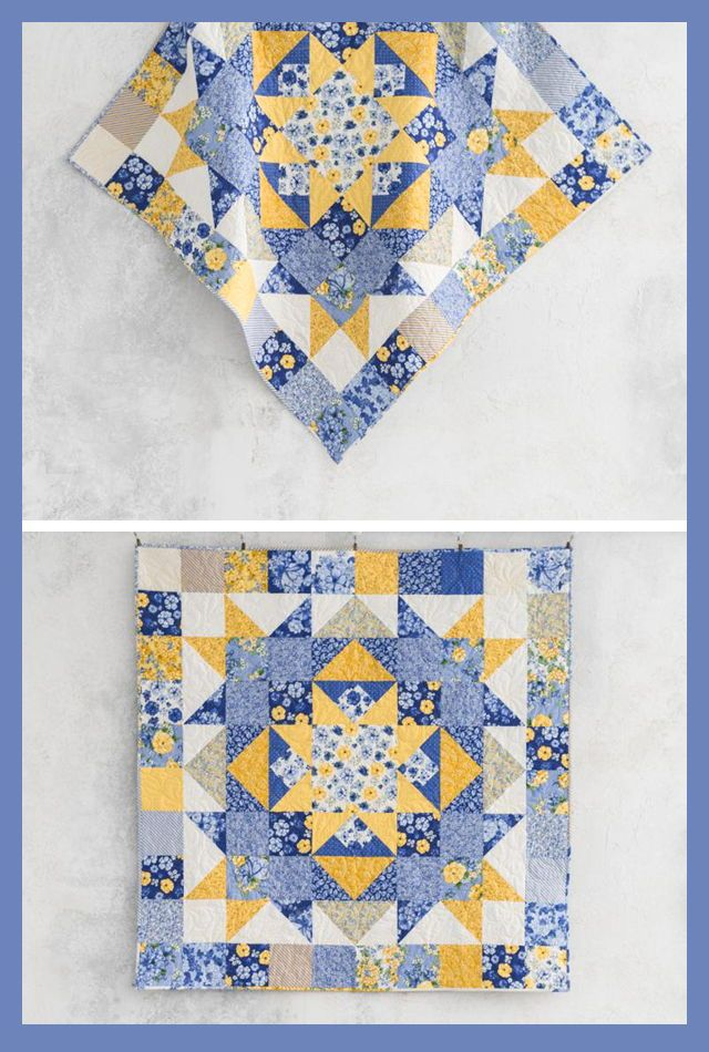 Quilt Kit Sew The Sunny Days Dutch Garden Quilt In Shades Of Blue And Yellow This Bold Star Antique Quilts Patterns Blue Quilt Patterns Star Quilt Patterns