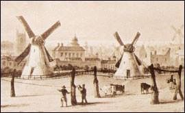 Lime Streets Windmills and drying grounds, St Johns church once in St Johns Gardens on the left, demolished 1898