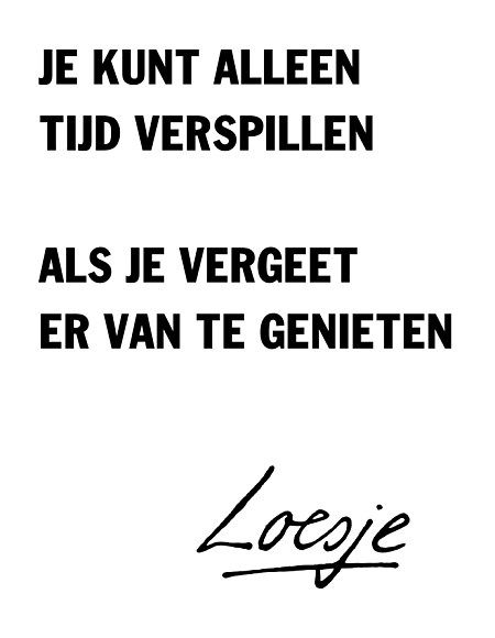 Je kunt alleen tijd verspillen als je vergeet er van te genieten - You can only waste time if you forget to enjoy it - Loesje