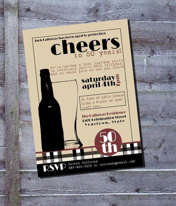 Beer tasting milestone birthday party invitation. $7.00, via Etsy.