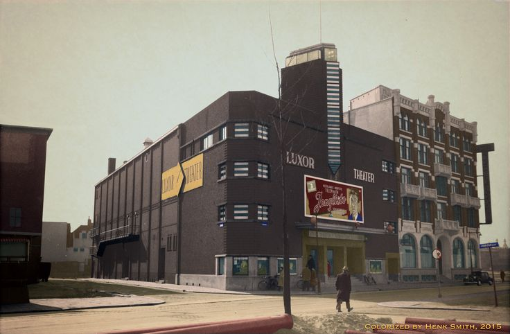 Luxor theater and Grand Hotel Central. Kruiskade Rotterdam. forties.