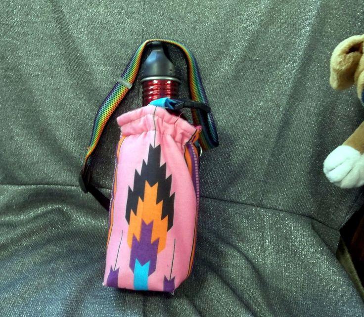 Water Bottle Holder for Hikers Southwestern Indian Blanket Print