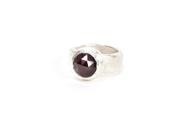 Silver Top Cocktail Ring - Garnet | DARKBLACK $365 NZD